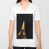eiffel tower V-neck T-shirts featuring Eiffel Tower by Emily Werboff