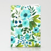 oana befort Stationery Cards featuring FLORA BLUES by Oana Befort
