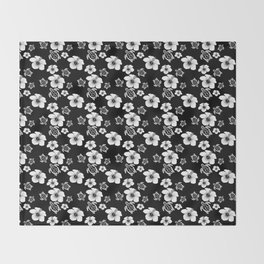 Black And White Floral And Turtle Hawaiian Pattern Throw Blanket