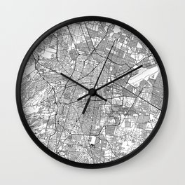 Mexico City White Map Wall Clock