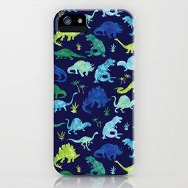 Watercolor Dinosaur Blue Green Dino Pattern iPhone Case