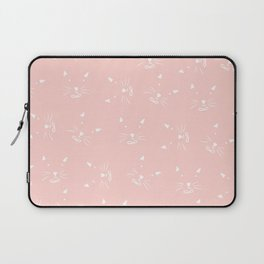 Cute girly hand drawn abstract cat face on pastel pink Laptop Sleeve