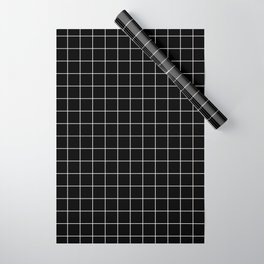 Grid Simple Line Black Minimalist Wrapping Paper