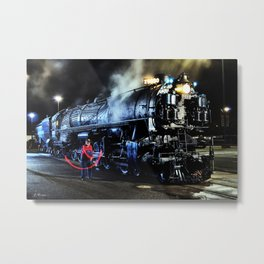 Signaling. Lantern in Mid-Swing. UP 9000. Union Pacific. Steam Train Locomotive. © J. Montague. Metal Print