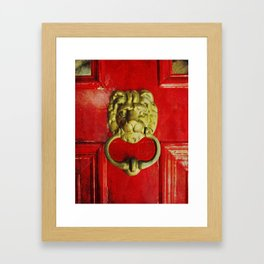 Gold Lion Door Knocker on Red Door Framed Art Print