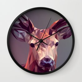Colorful Polygons Abstract Deer Wall Clock