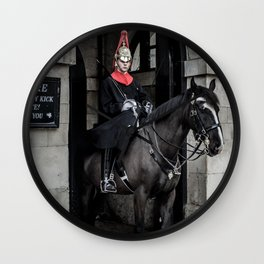 Horse Guard on Duty at the Horse Guards Building near Whitehall London England Wall Clock