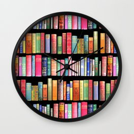 Christmas Antique Book Library for Bibliophile.bookworm, book lover, library, teachers , students, Wall Clock