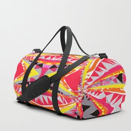psychedelic geometric symmetry abstract pattern in red yellow orange black Duffle Bag