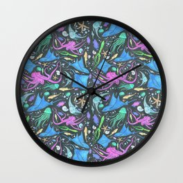 Colorful Marine Life Diversity Wall Clock