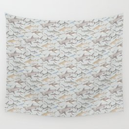 Watercolour shark pattern on pale blue Wall Tapestry