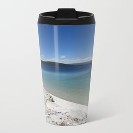 Beach at Yellowstone National Park Blue Sky Metal Travel Mug