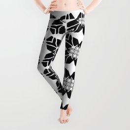 Black on White Leaf Quilt Leggings