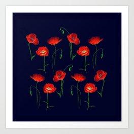 Red Poppy Meadow Night Art Print