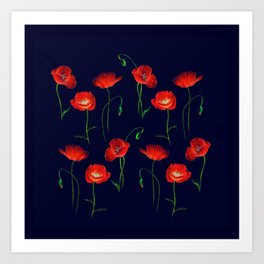 Red Poppy Meadow Night Art Print