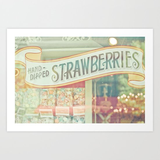 Hand-Dipped Strawberries Art Print