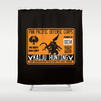 kaiju Shower Curtains featuring Kaiju hunting plate by Buby87