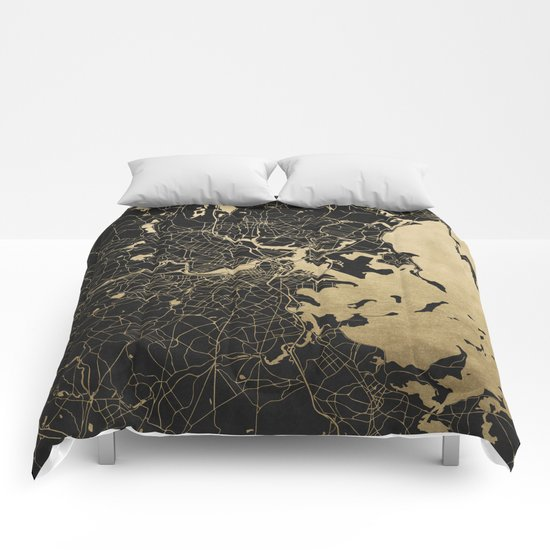 Boston Gold And Black Invert Comforters By Mapmaker Society6