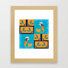 Retro Mermaid Tile Print Framed Art Print