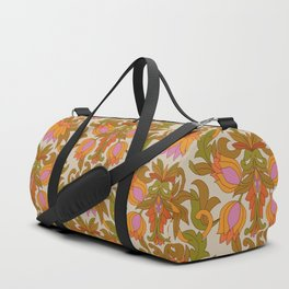 Orange, Pink Flowers and Green Leaves 1960s Retro Vintage Pattern Duffle Bag