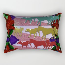 Dogs and Flowers Rectangular Pillow