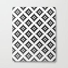 Southwest in black and white modern traditional geometric aztec native print design desert kilim  Metal Print