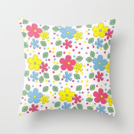 Flowers leaves and Polka Dots Kids Pattern Throw Pillow