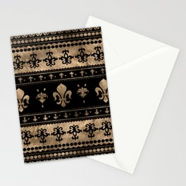 Luxury black and gold Fleur-de-lis ornament  Stationery Cards