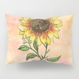 Single Watercolor Sunflower Pillow Sham