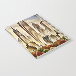 Vintage New York Central Park United Airlines Advertisement Poster Notebook