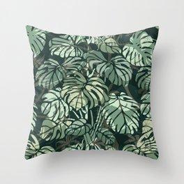 Tropical Jungle, Dark Green, Botanical Prints Throw Pillow