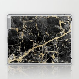 Chic black faux gold modern abstract marble Laptop & iPad Skin