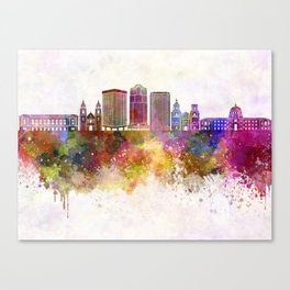 Tucson V2 skyline in watercolor background Canvas Print