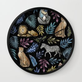 African Animals Print Wall Clock