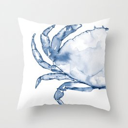 Coastal Crab in Watercolor, Navy Blue (Left Half in Set) Throw Pillow