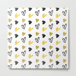 Gold and black hearts pattern Metal Print