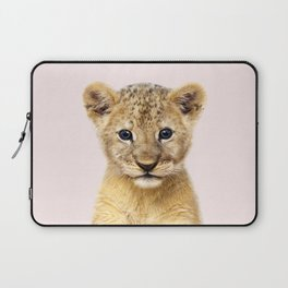 Baby Lion With Pink Background, Baby Animals Art Print By Synplus Laptop Sleeve