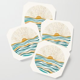 The Sun and The Sea - Gold and Teal Coaster