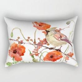 Cardinal Bird and Poppies Rectangular Pillow