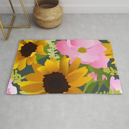 Sunflowers and Roses Rug