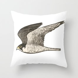 Flying Falcon Colored Pencil Art Throw Pillow