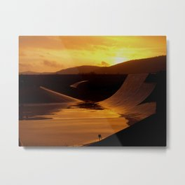 Skate park during a rainy sunset Metal Print