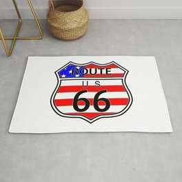 Route 66 Highway Sign With Flag Rug