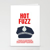 hot fuzz Stationery Cards featuring Hot Fuzz Movie Poster by FunnyFaceArt