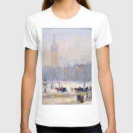 Childe Hassam - Snowstorm Madison Square T-shirt