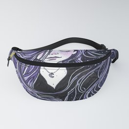 Calm, Calmness, Girl with Long Hair, Purple Painting, Watercolor Meditation Fanny Pack