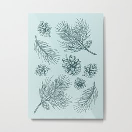 Pine Cones and Pine Branches Pattern (Mint and Pine) Metal Print