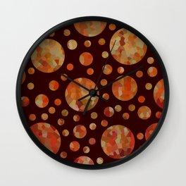Orange Circles Against Dark Red Wall Clock