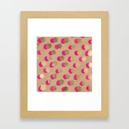 Modern Christmas watercolor neon pink gold foil polka dots on Kraft Framed Art Print