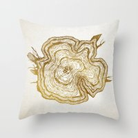 tree rings Throw Pillows featuring Tree Rings by Emmy Winstead